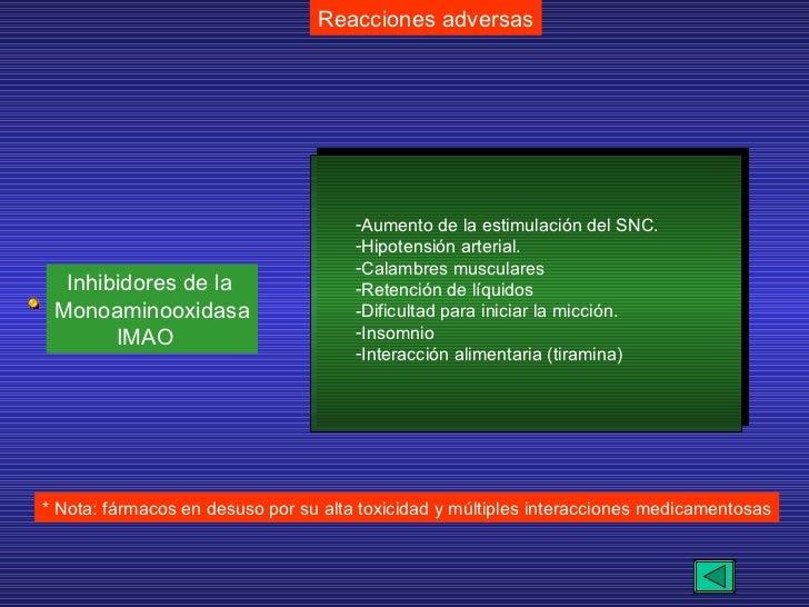 Reacciones adversas * Nota: fármacos en desuso por su alta toxicidad y múltiples interacciones medicamentosas Inhibidores ...