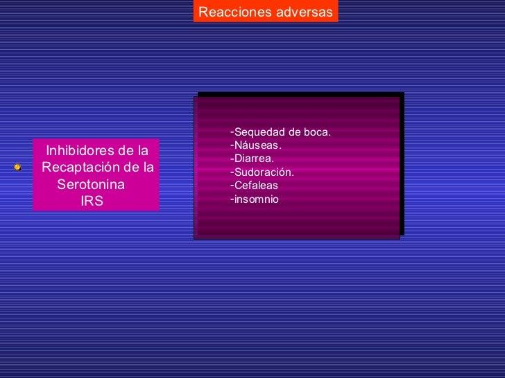 Reacciones adversas Inhibidores de la Recaptación de la Serotonina IRS <ul><li>Sequedad de boca. </li></ul><ul><li>Náuseas...