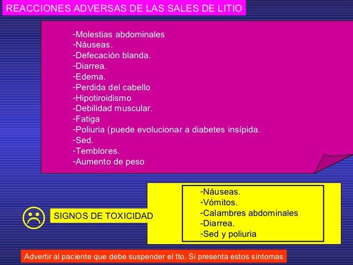 REACCIONES ADVERSAS DE LAS SALES DE LITIO Advertir al paciente que debe suspender el tto. Si presenta estos síntomas <ul><...