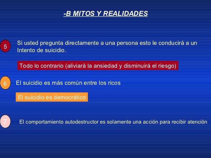 -B MITOS Y REALIDADES Todo lo contrario (aliviará la ansiedad y disminuirá el riesgo) El suicidio es democrático 5 Si uste...