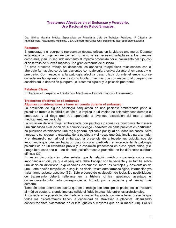 Trastornos Afectivos en el Embarazo y Puerperio.                         Uso Racional de Psicofármacos.Dra. Silvina Mazair...