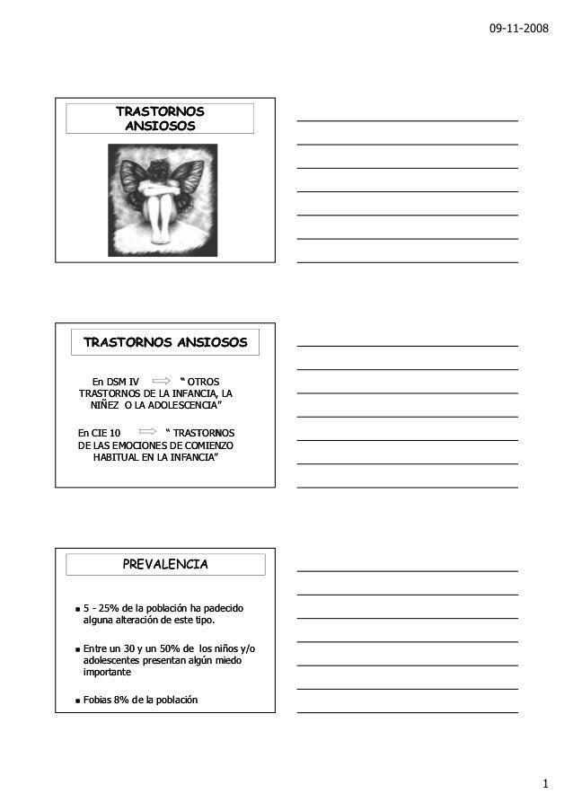 """09-11-2008        TRASTORNOS         ANSIOSOS TRASTORNOS ANSIOSOS  En DSM IV        """" OTROSTRASTORNOS DE LA INFANCIA, LA  ..."""