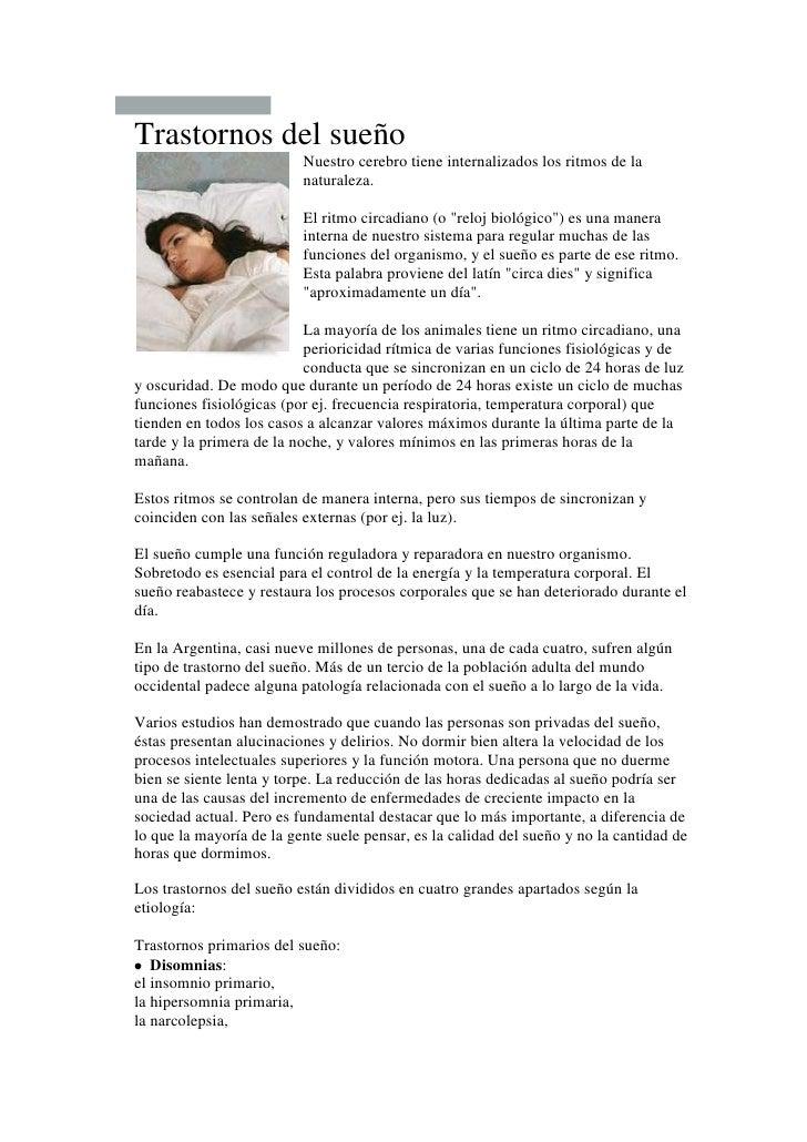 """<br />Trastornos del sueñoNuestro cerebro tiene internalizados los ritmos de la naturaleza. El ritmo circadiano (o """" rel..."""