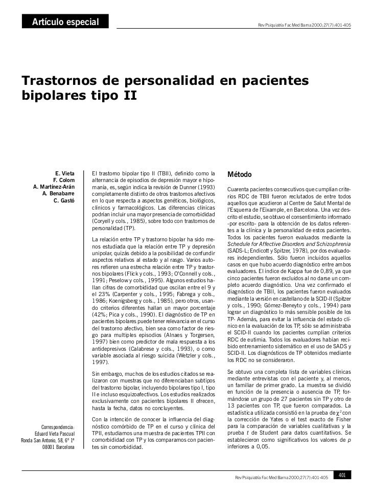 Artículo especialE. Vieta, F. Colom, A. Martínez-Arán, A. Benabarre, C. Gastó                                             ...