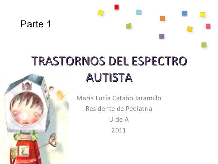TRASTORNOS DEL ESPECTRO AUTISTA María Lucía Cataño Jaramillo Residente de Pediatría U de A 2011 Parte 1