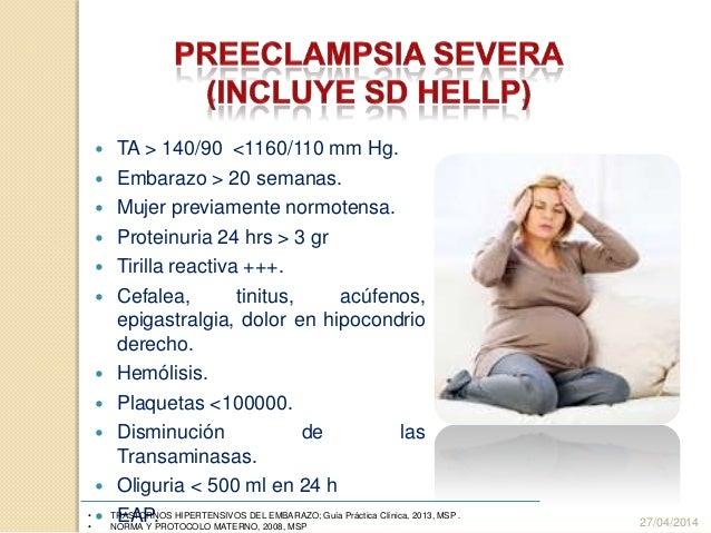  TA > 140/90 <1160/110 mm Hg.  Embarazo > 20 semanas.  Mujer previamente normotensa.  Proteinuria 24 hrs > 3 gr  Tiri...