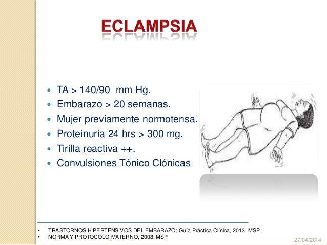  TA > 140/90 mm Hg.  Embarazo > 20 semanas.  Mujer previamente normotensa.  Proteinuria 24 hrs > 300 mg.  Tirilla rea...