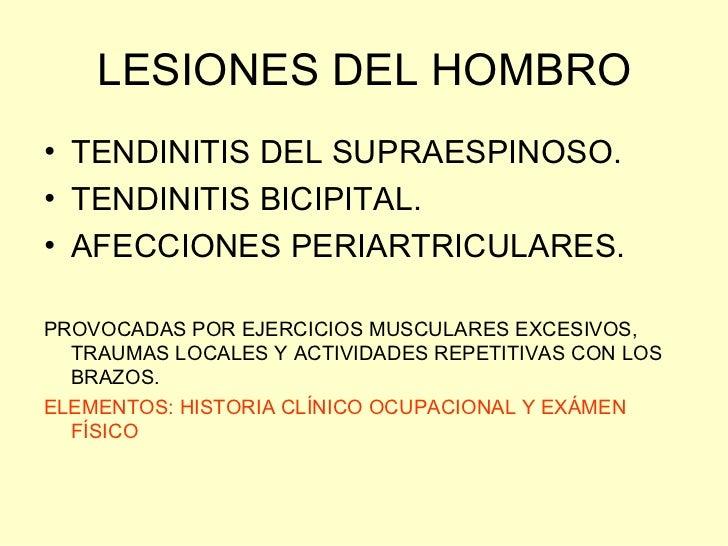LESIONES DEL HOMBRO• TENDINITIS DEL SUPRAESPINOSO.• TENDINITIS BICIPITAL.• AFECCIONES PERIARTRICULARES.PROVOCADAS POR EJER...