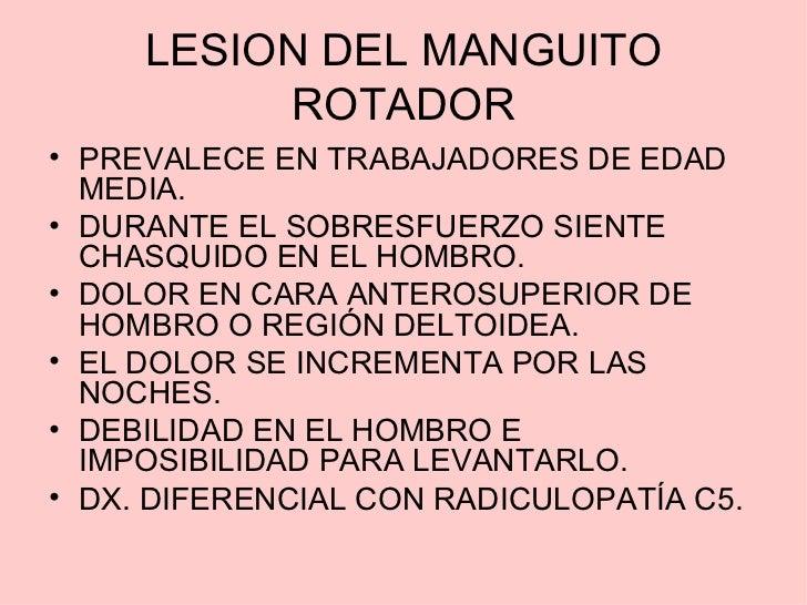 LESION DEL MANGUITO          ROTADOR• PREVALECE EN TRABAJADORES DE EDAD  MEDIA.• DURANTE EL SOBRESFUERZO SIENTE  CHASQUIDO...