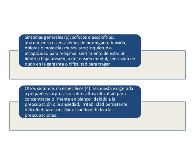 Criterios diagnósticos para el Trastorno de Ansiedad Generalizada según el DSM-IV.  Ansiedad y preocupación excesivas (exp...