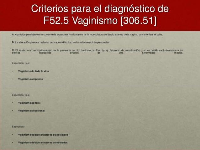 Criterios para el diagnóstico de F52.5 Vaginismo [306.51] A. Aparición persistente o recurrente de espasmos involuntarios ...