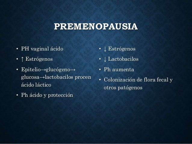 PREMENOPAUSIA • PH vaginal ácido • ↑ Estrógenos • Epitelio→glucógeno→ glucosa→lactobacilos procen ácido láctico • Ph ácido...