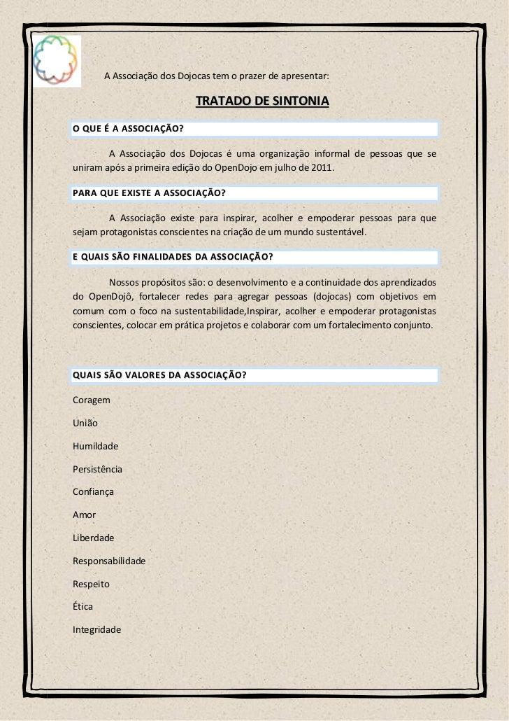 A Associação dos Dojocas tem o prazer de apresentar:                                   TRATADO DE SINTONIAO QUE É A ASSOCI...