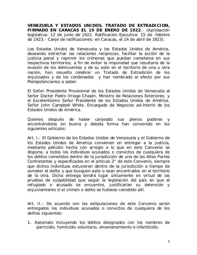 1 VENEZUELA Y ESTADOS UNIDOS. TRATADO DE EXTRADICION, FIRMADO EN CARACAS EL 19 DE ENERO DE 1922.- (Aprobación legislativa:...
