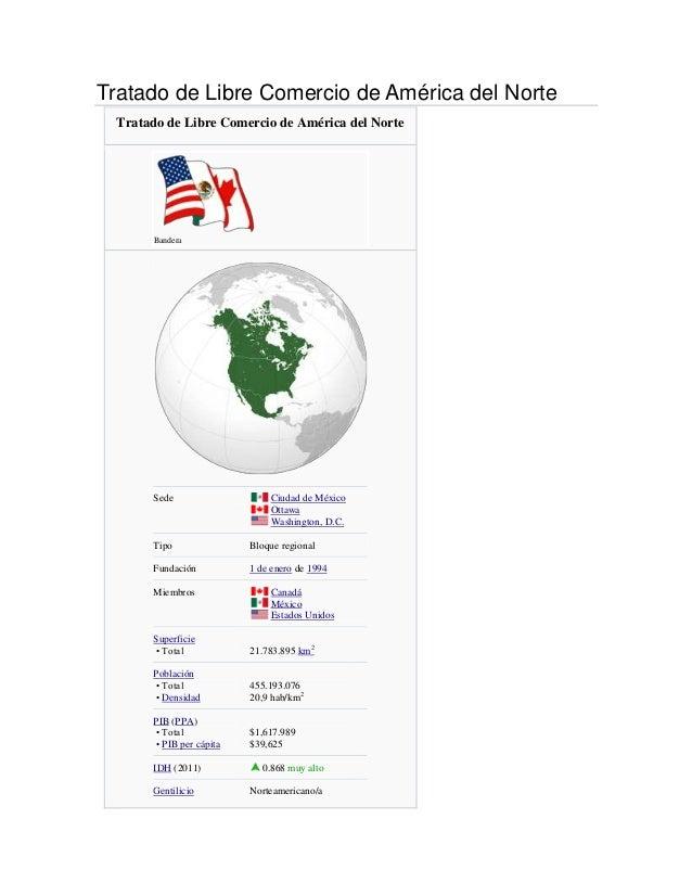 Tratado de Libre Comercio de América del Norte  Tratado de Libre Comercio de América del Norte       Bandera       Sede   ...