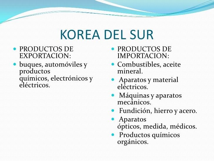 KOREA DEL SUR<br />PRODUCTOS DE EXPORTACION:<br />buques, automóviles y productos químicos, electrónicos y eléctricos.<br ...