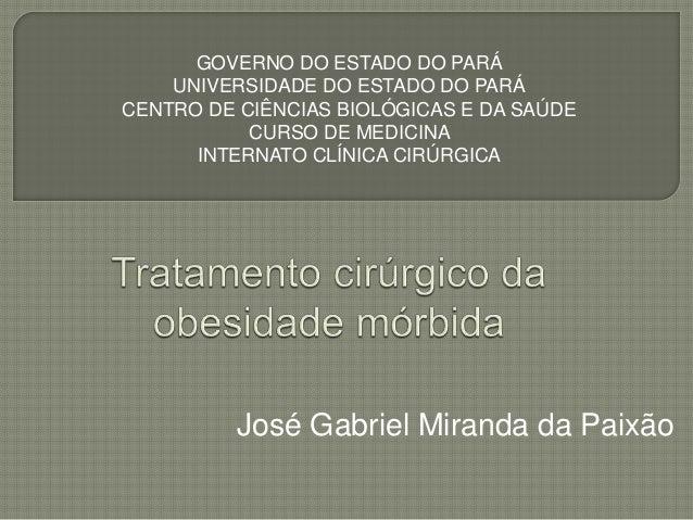 José Gabriel Miranda da Paixão GOVERNO DO ESTADO DO PARÁ UNIVERSIDADE DO ESTADO DO PARÁ CENTRO DE CIÊNCIAS BIOLÓGICAS E DA...