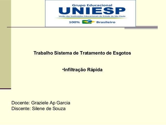 Trabalho Sistema de Tratamento de Esgotos •Infiltração Rápida Docente: Graziele Ap Garcia Discente: Silene de Souza
