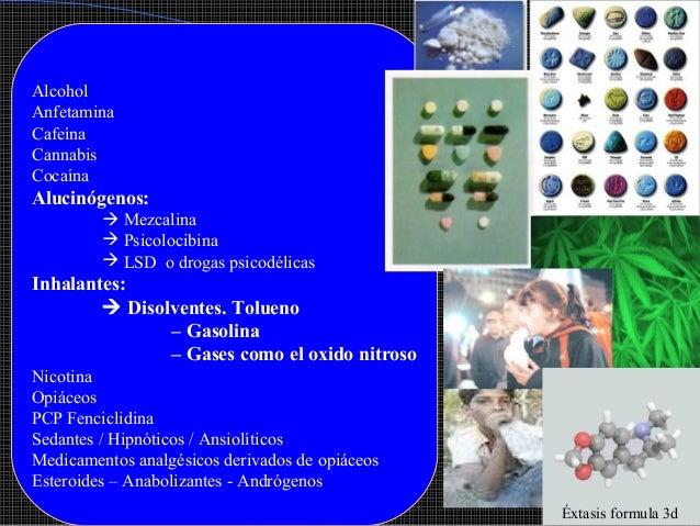 Alcohol Anfetamina Cafeína Cannabis Cocaína  Alucinógenos:  Mezcalina  Psicolocibina  LSD o drogas psicodélicas  Inhala...