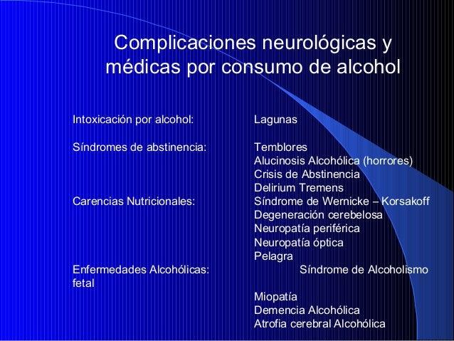 Complicaciones neurológicas y médicas por consumo de alcohol Intoxicación por alcohol:  Lagunas  Síndromes de abstinencia:...