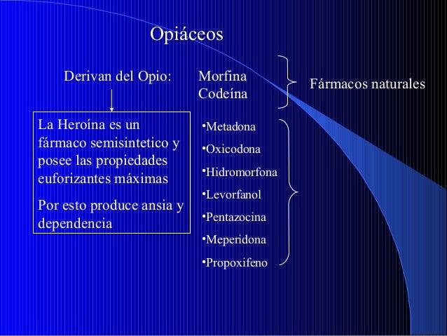 Opiáceos Derivan del Opio: La Heroína es un fármaco semisintetico y posee las propiedades euforizantes máximas Por esto pr...