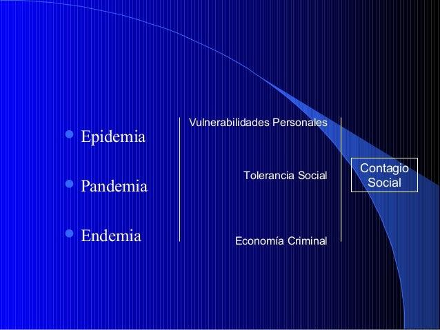  Epidemia  Pandemia  Endemia  Vulnerabilidades Personales  Tolerancia Social  Economía Criminal  Contagio Social