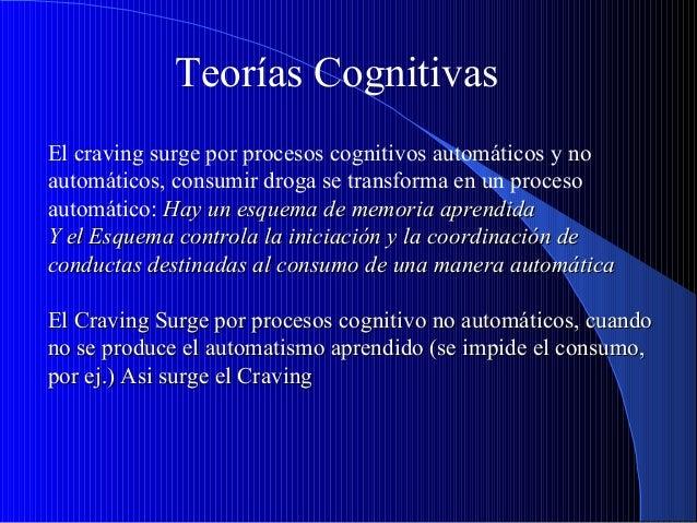 Teorías Cognitivas El craving surge por procesos cognitivos automáticos y no automáticos, consumir droga se transforma en ...