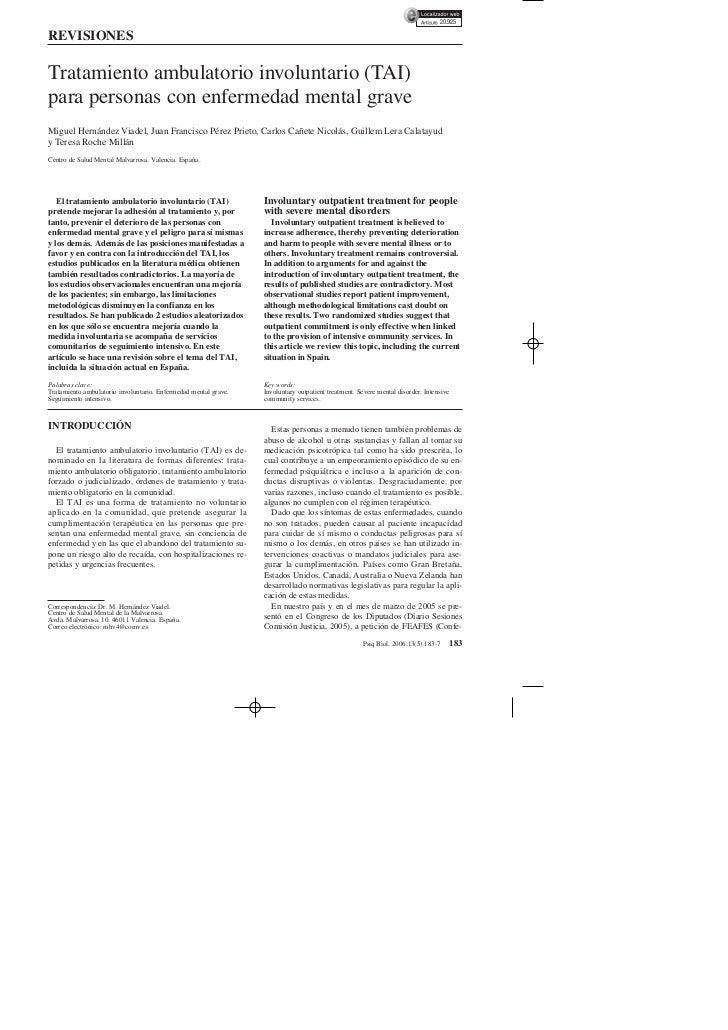 20.925REVISIONESTratamiento ambulatorio involuntario (TAI)para personas con enfermedad mental graveMiguel Hernández Viadel...
