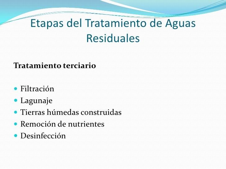 Etapas del Tratamiento de Aguas Residuales<br />Tratamiento terciario<br />Filtración<br />Lagunaje<br />Tierras húmedas c...