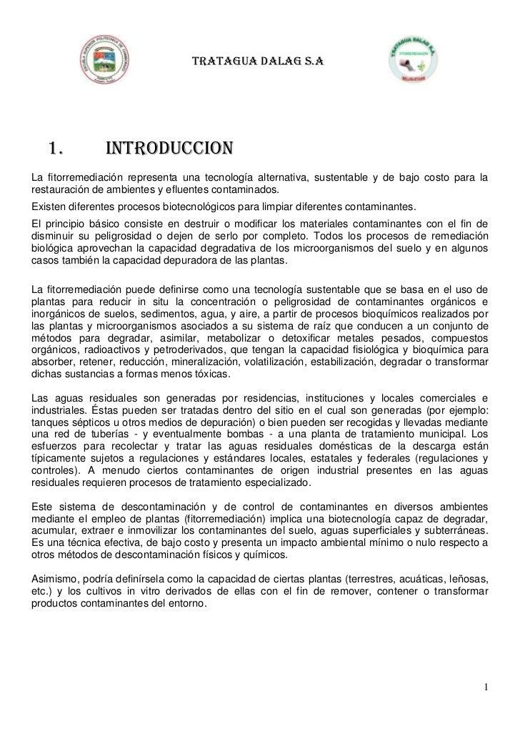 TRATAGUA DALAG S.A   1.           INTRODUCCIONLa fitorremediación representa una tecnología alternativa, sustentable y de ...