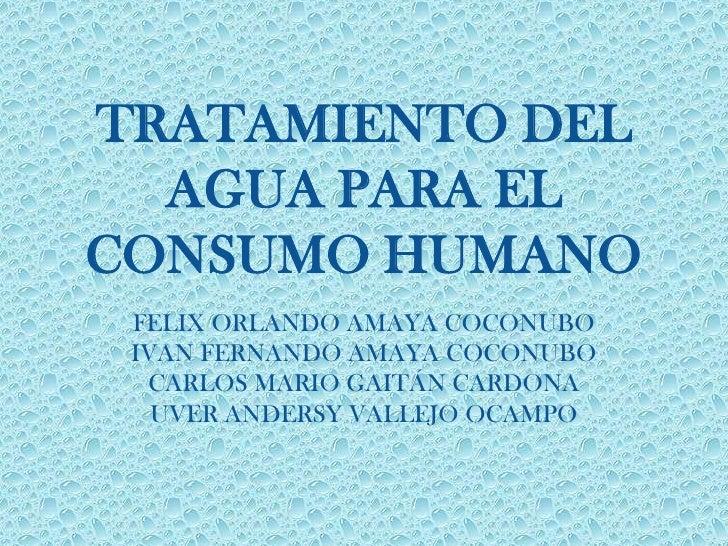 TRATAMIENTO DEL  AGUA PARA ELCONSUMO HUMANO FELIX ORLANDO AMAYA COCONUBO IVAN FERNANDO AMAYA COCONUBO  CARLOS MARIO GAITÁN...