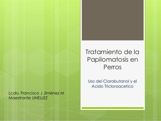 Tratamiento de la Papilomatosis en Perros Uso del Clorobutanol y el Acido Tricloroacetico Lcdo. Francisco J Jiménez M Maes...