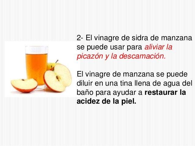 2- El vinagre de sidra de manzana se puede usar para aliviar la picazón y la descamación. El vinagre de manzana se puede d...
