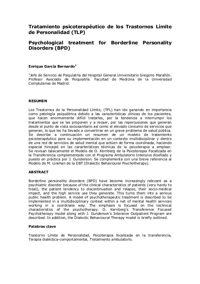 Tratamiento psicoterapéutico de los Trastornos Límite de Personalidad (TLP) Psychological treatment for Borderline Persona...