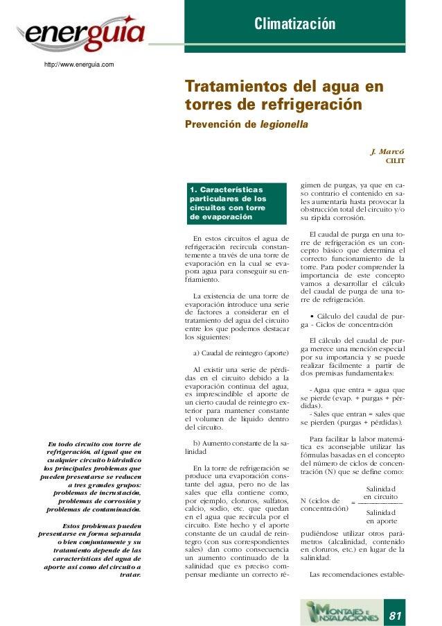 Climatización http://www.energuia.com  Tratamientos del agua en torres de refrigeración Prevención de legionella J. Marcó ...
