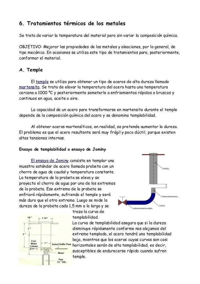 6. Tratamientos térmicos de los metalesSe trata de variar la temperatura del material pero sin variar la composición quími...