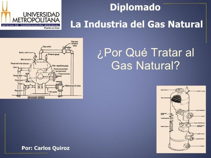 ¿Por Qué Tratar al Gas Natural? Por: Carlos Quiroz Diplomado  La Industria del Gas Natural