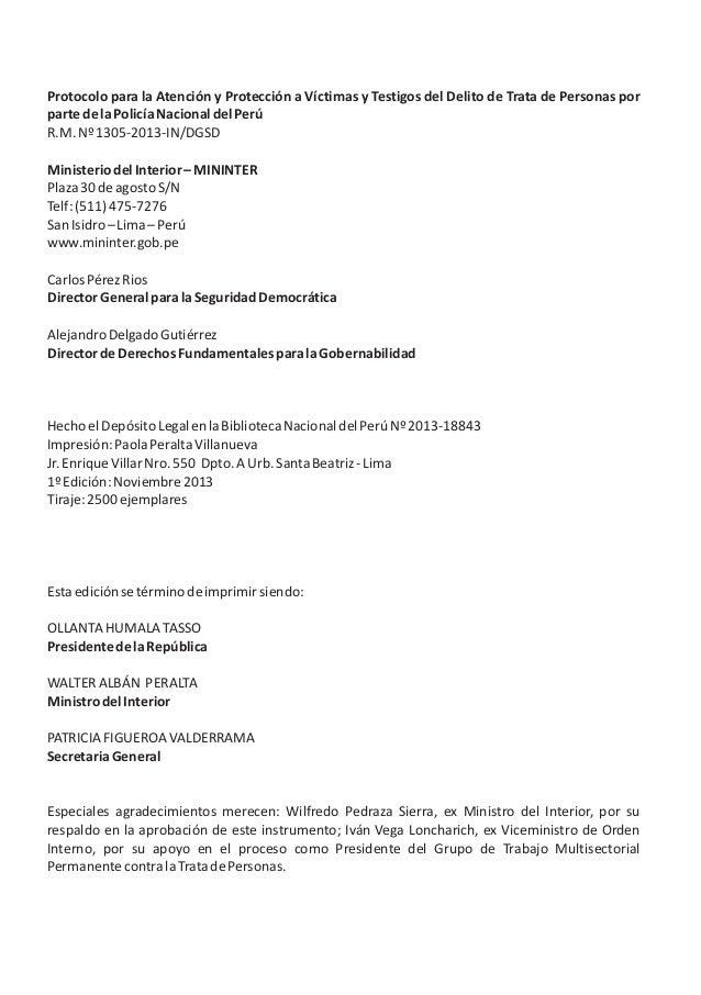 Protocolo para la Atención y Protección a Víctimas y Testigos del Delito de Trata de Personas por partedelaPolicíaNacional...