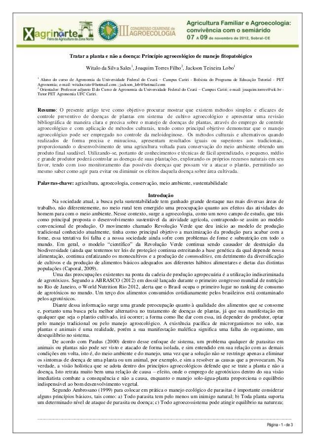 Tratar a planta e não a doença: Princípio agroecológico de manejo fitopatológico                           Witalo da Silva...