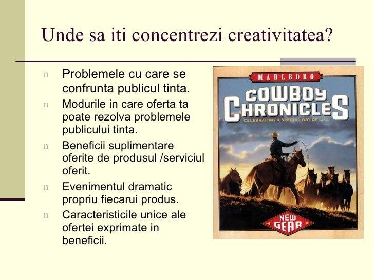 Unde sa iti concentrezi creativitatea? <ul><li>Problemele cu care se confrunta publicul tinta. </li></ul><ul><li>Modurile ...