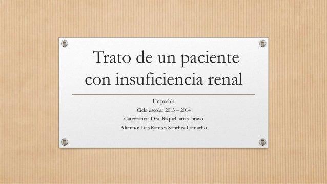Trato de un paciente con insuficiencia renal Unipuebla Ciclo escolar 2013 – 2014 Catedrático: Dra. Raquel arias bravo Alum...