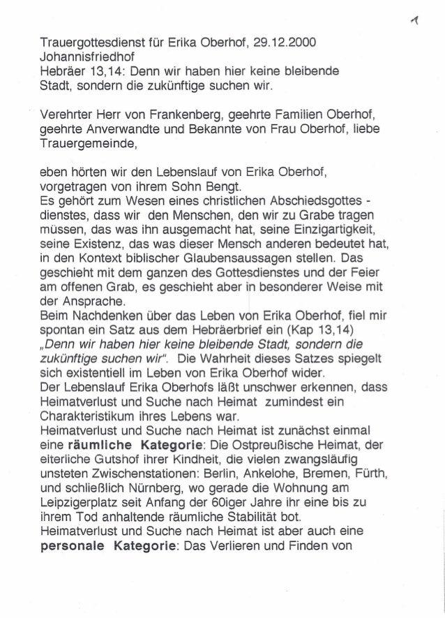 Trauerpredigt Erika Oberhof, 29.12.2000