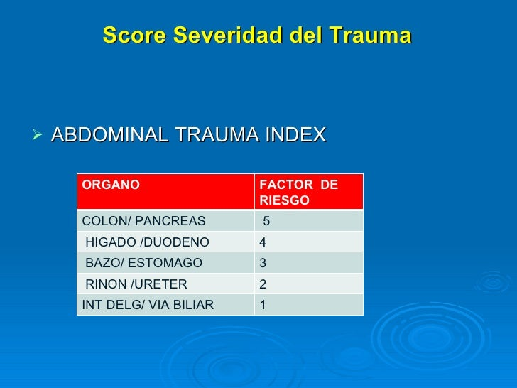 <ul><li>ABDOMINAL TRAUMA INDEX </li></ul>Score Severidad del Trauma ORGANO FACTOR  DE  RIESGO COLON/ PANCREAS 5 HIGADO /DU...