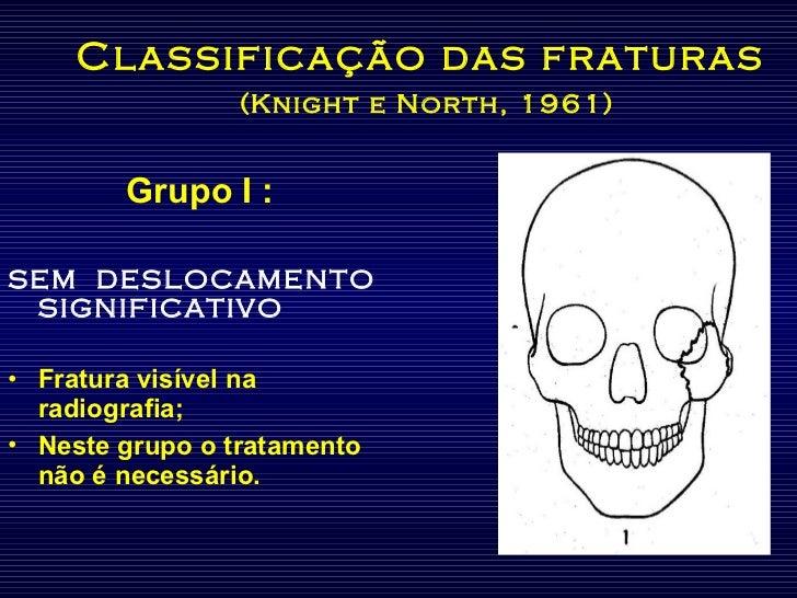 Classificação das fraturas   (Knight e North, 1961) <ul><li>Grupo I :  </li></ul><ul><li>SEM  DESLOCAMENTO SIGNIFICATIVO <...