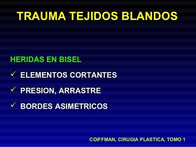 TRAUMA TEJIDOS BLANDOSHERIDAS EN BISEL ELEMENTOS CORTANTES PRESION, ARRASTRE BORDES ASIMETRICOS                   COIFF...