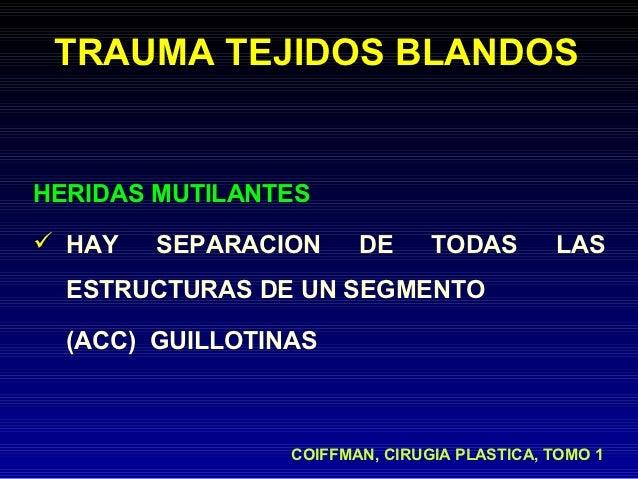 TRAUMA TEJIDOS BLANDOSHERIDAS MUTILANTES HAY   SEPARACION      DE      TODAS        LAS  ESTRUCTURAS DE UN SEGMENTO  (ACC...
