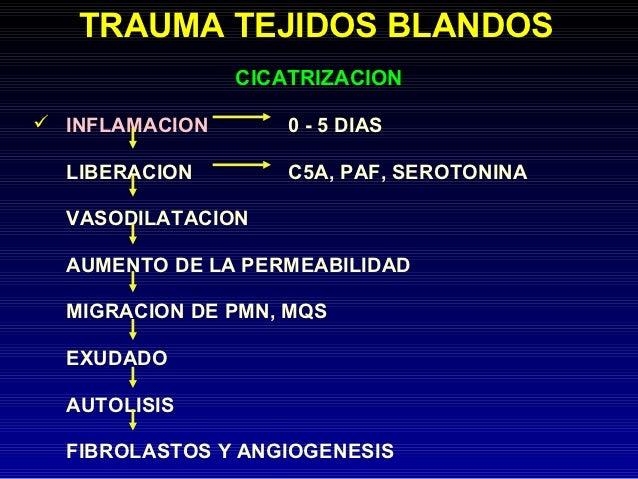 TRAUMA TEJIDOS BLANDOS                CICATRIZACION INFLAMACION       0 - 5 DIAS  LIBERACION        C5A, PAF, SEROTONINA ...