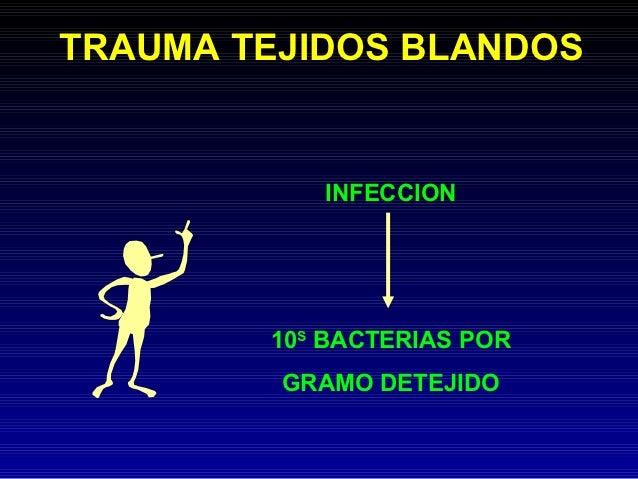 TRAUMA TEJIDOS BLANDOS           INFECCION        10S BACTERIAS POR         GRAMO DETEJIDO