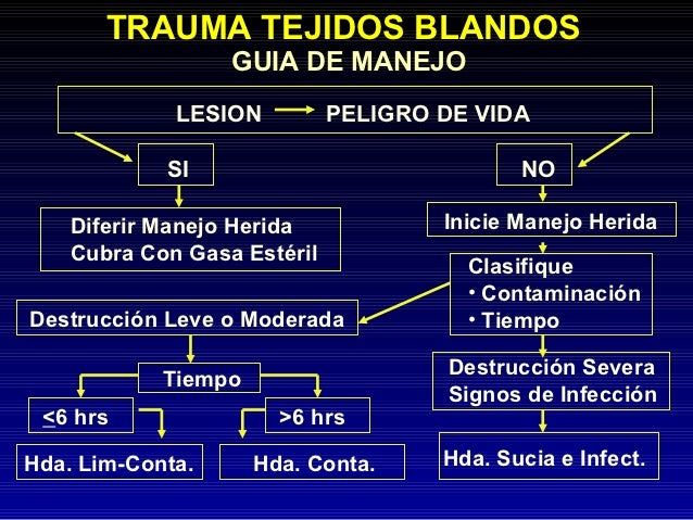 TRAUMA TEJIDOS BLANDOS                  GUIA DE MANEJO             LESION          PELIGRO DE VIDA            SI          ...