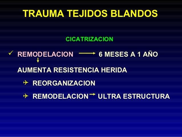 TRAUMA TEJIDOS BLANDOS             CICATRIZACION REMODELACION        6 MESES A 1 AÑO  AUMENTA RESISTENCIA HERIDA    REOR...